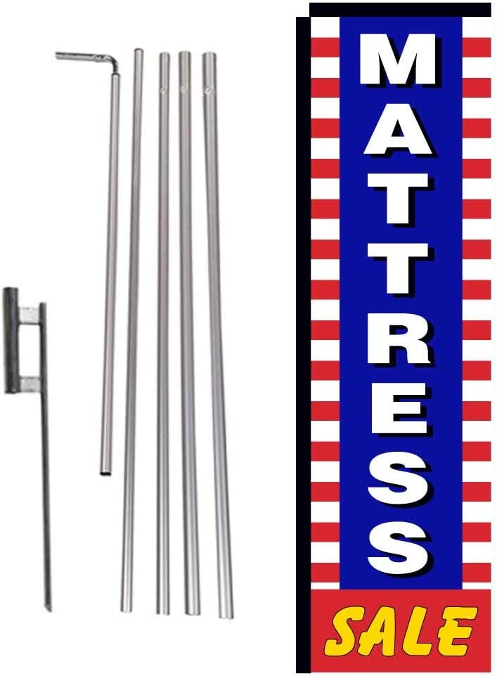 Mattress Sale Advertising Rectangle Feather Flag Banner with Pole kit and Ground Spike