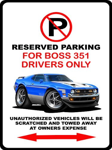 1971 Ford Mustang Boss 351 Muscle Car-toon No Parking Sign