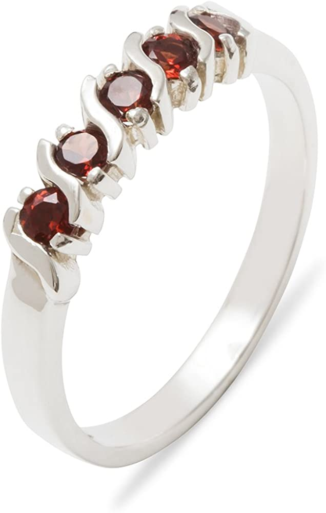 Solid 925 Sterling Silver Real Genuine Garnet Womens Eternity Band Ring