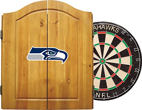 (Imperial Officially Licensed NFL Merchandise: Dart Cabinet Set with Steel Tip Bristle Dartboard and Darts, Seattle)