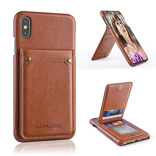- LOHASIC iPhone Xs Max Wallet Case with 4 Card Slots, Premium PU Leather Case with Stand Feature & Ultra Strong Magnetic Closure Protective Cover Cases for Apple iPhone Xs Max (2018) 6.5 inch - Brown