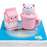 WATINC Jumbo Animal squishies Cat cup & milk Squishies Slow Rising Sweet Scented Vent Charms Kawaii Kid Toy Hand Wrist Toy Gift, Stress Relief Toy Lovely Toy, Cute Gift Fun Large