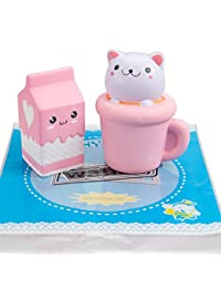 WATINC Jumbo Animal squishies Cat cup & milk Squishies Slow Rising Sweet Scented Vent Charms Kawaii Kid Toy Hand Wrist Toy Gift, Stress Relief Toy Lovely Toy, Cute Gift Fun Large BOBEBE Online Baby Store From New York to Miami and Los Angeles