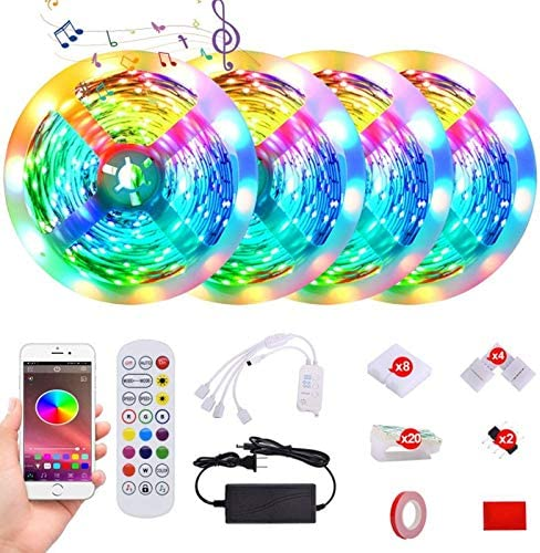 65.6ft Led Strip Lights Music Sync Color Changing 5050 RGB LED Light Strips Kit, 4 Reels of Light Sensitive Built-in Mic,App Control with Remote for Bedroom Home Kitchen TV Party