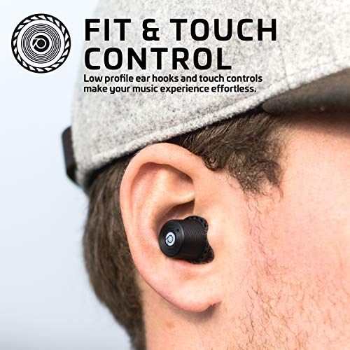 Rowkin Ascent Micro True Wireless Earbuds Headphones: 17+ Hours Bluetooth 5 Smallest Earphones & USB-C Charging Case. Deep Bass Headset Mic & Noise Reduction for Android Samsung & iPhone (Slate Gray)