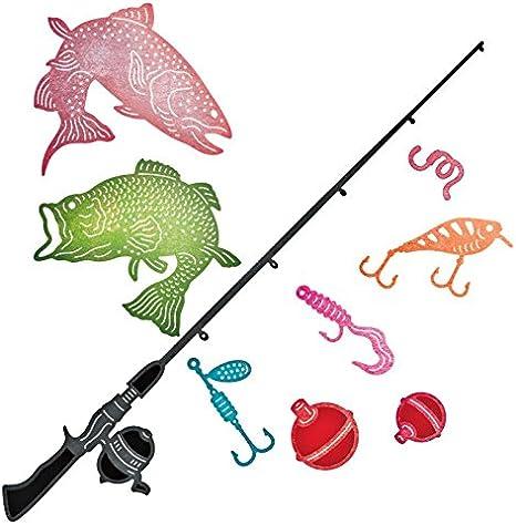 Dies Metal Cutting Scrapbooking Catch Fish Stencil Photo Stamp Diy Decor 9pcs