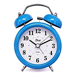 Slash 3 Vintage Retro Old Fashioned Quiet Non-ticking Sweep Second Hand, Quartz Analog Twin Bell Clock, Battery Operated, Loud Alarm, Nightlight Function (Blue) S10124