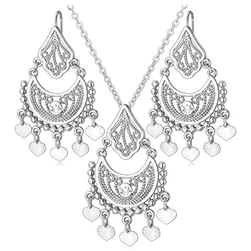 Indian Jewelry Sets Vintage Platinum Plated Rhinestone Heart Pendant Vintage Tassels Necklace Earrings Party Set