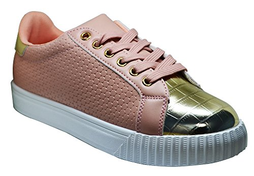 Qupid Picton-02 Womens Lace Up Super Glam Sneaker Peach gTDuOOw5
