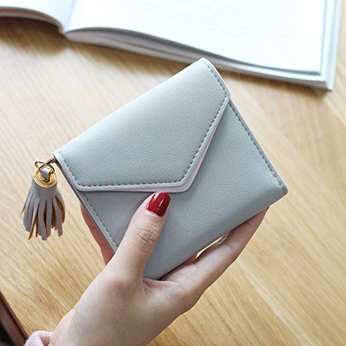 YOIOY Women Clutch Long Purse Japan and South Korea Short Tassel Ladies Student Wallet tri-fold Compact Coin Purse Triangle Ticket Holder Wallet (Color : Gray) (Color : Gray)