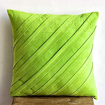 Amazon Com Lime Green Decorative Pillows Cover Textured Pintucks