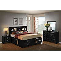 Roundhill Furniture Blemerey 110 Wood Storage Bed Group, Queen Bed, Dresser, Mirror and Night Stand, Black