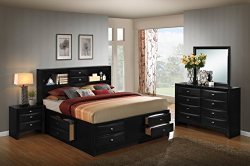 Roundhill Furniture Blemerey 110 Wood Storage Bed Group with King Bed, Dresser, Mirror and Night Stand, Black ()