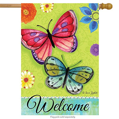 Butterfly Flag - Spirited Butterflies Spring House Flag Welcome Floral 28