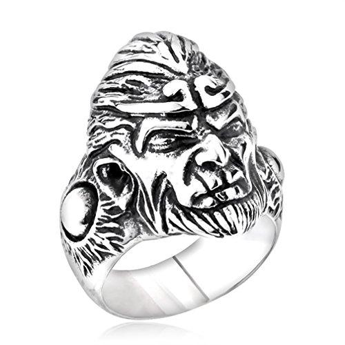 [Men's Vintage Gothic Stainless Steel Rings Fierce Black Monkey King Head Biker Rings Size 8] (Trap King Costume)