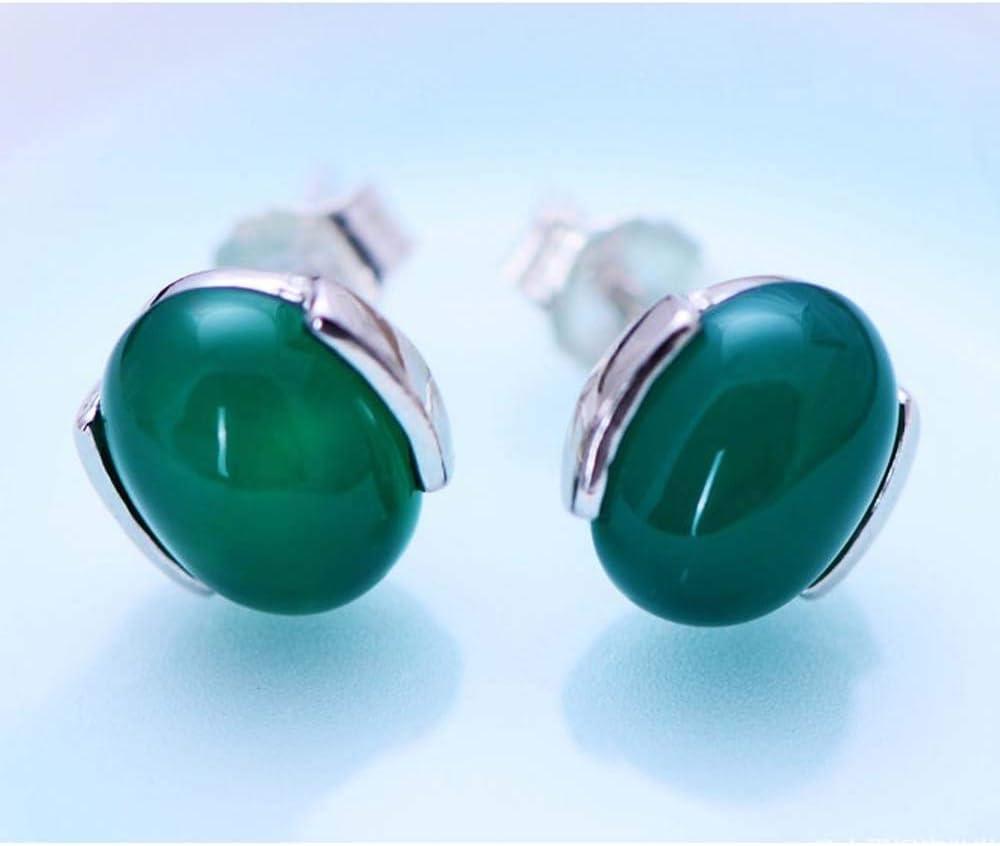 Erhuan Joyas Jade Angel 925 Pendientes de botón de plata esterlina con cuentas de ónix verde sintético de corte ovalado