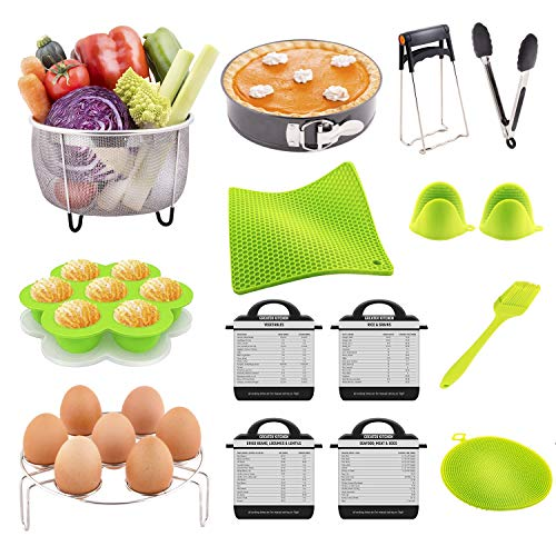 Pressure Cooker Accessories Full Kit - Pressure Cooker Accessories Set Compatible with Instant Pot 5,6,8 Qt - Springform Pan, Steamer Basket, Egg Rack, Egg Bites Mold, Oven Mitts, Basting Brush, Tongs (Fagor Elite Pressure Cooker 10 Qt Review)