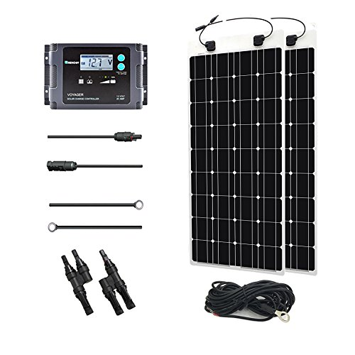 Renogy 200 Watt 12 Volt Solar Marine Kit with Ultra Flexible Solar Panel, Waterproof Charge Controller, and Temperature Sensor