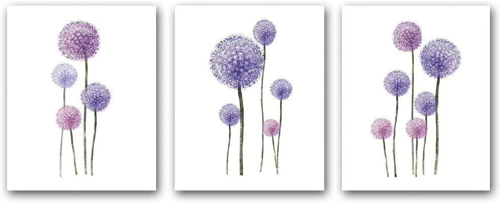 """Set of 3 - Dandelion painting wall art canvas print picture for living room flower plant home decoration modern artwork decoration(Unframed, 8""""X10"""")"""
