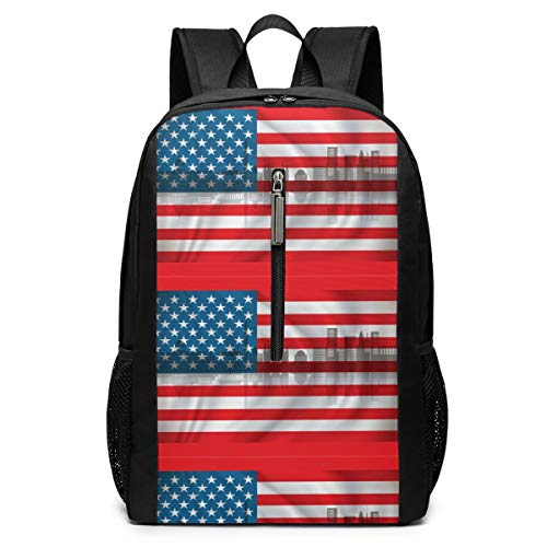 Large Hiking Athletic Backpacks Flag of USA with Washington Skyline College Junior School Daily Student Work Travel High Capacity Laptop Computer Rucksack Bag for Couple Boys