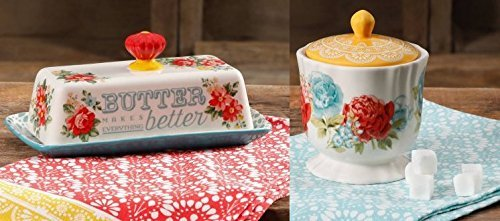 The Pioneer Woman Vintage Floral Teal Butter Dish with Blossom Jubilee Sugar Pot set