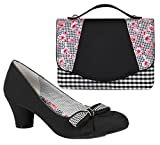 Ruby Shoo Women's Black Pink Lily Mary Jane Pumps & Belfast Bag & Como Purse UK 3 EU 36