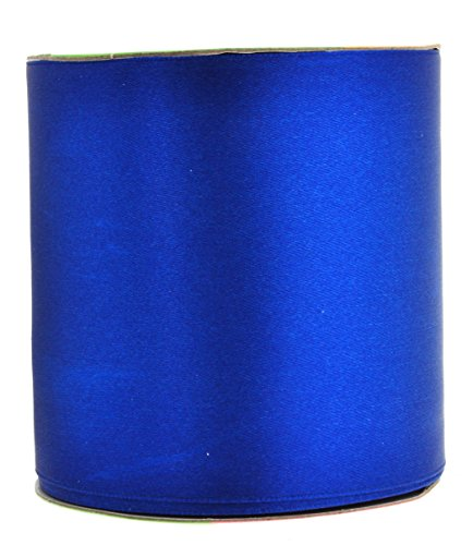 Mandala Crafts Fabric Satin Ribbon for Hair Bow Making, Sewing, Gift Wrapping, Flower Bouquets, Party Decorating, and Weddings (3 inches 25 Yards, (Blue Holiday Craft)