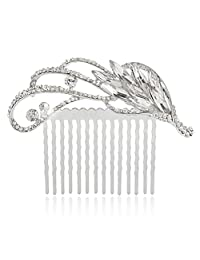 Ever Faith Silver-Tone Rhinestone Crystal Art Deco Floral Wedding Hair Comb N03689-1