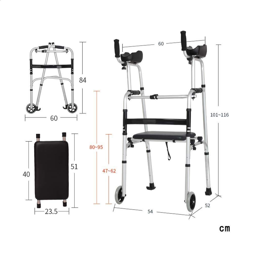 Walking Frame with Wheels Narrow, Portable Bag Lockable Brake Adjustable Height Auxiliary Walking Safety Walker (Color : with Brakes) by YL WALKER (Image #7)