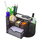 Mesh Metal Desk Organizer Caddy Pen Holder with 8 Compartments with Drawer   Office Desktop Organizer   School Supply - for Cads, Sticky Notes, Pens, Pencils, Notebooks, Stapler, Ruler   Black