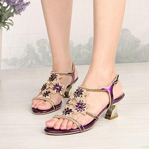 rotonda sandali paillettes Estate tacco sandali testa strass con con da casual confortevole alto Purple donna pBBva8wq