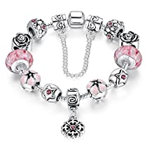 A TE® Charm Bracelet Enamel Flowers Glass Beads White Gold A...