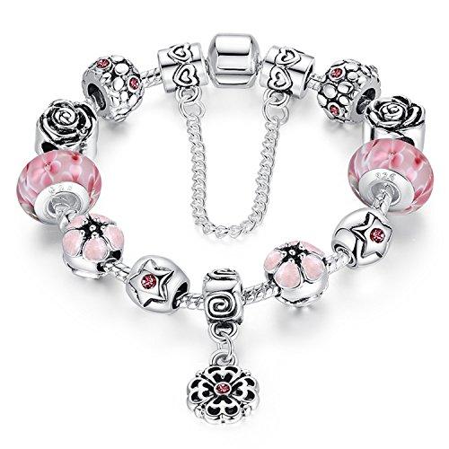 A TE® Armband Charms Blumen Glasperlen Damen Geschenk #JW-B107 (Rosa )
