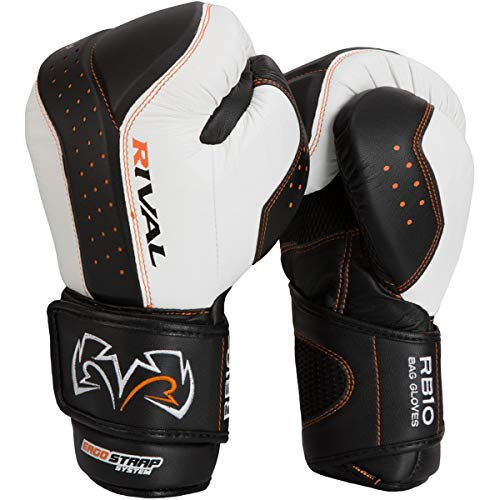 RIVAL BOXING GLOVES (RB10 INTELLI-SHOCK BAG GLOVES) (WHITE, - Shock Bag Gloves
