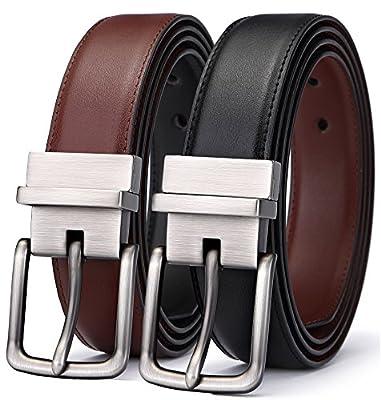 """Men's Belt, Bulliant Leather Reversible Belt 1.25"""",One Belt Reverse for 2 Colors"""