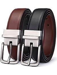 Men's Belt, Bulliant Leather Reversible Belt,One Belt Reverse for 2 Colors