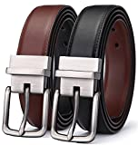 Men's Belt, Bulliant Genuine Leather Reversible Belt for Men 1.25'',Size Adjustable byTrim to Fit
