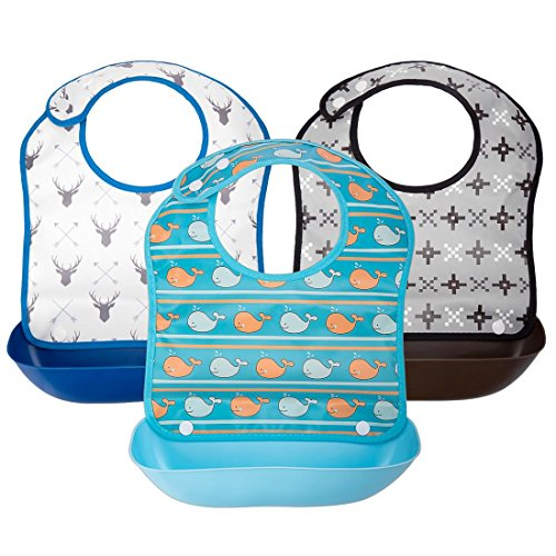 Ava & Kings 3pc Boys Foldable Waterpoof Baby Bibs With Detachable Food Catcher