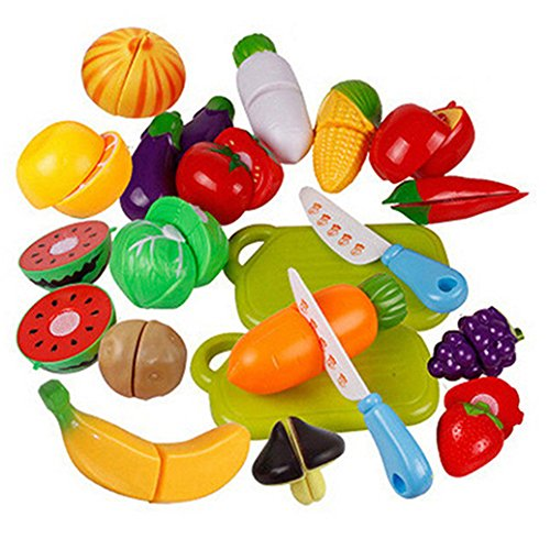 Cutting Fruit Set (Catnew Children Kids Play Toys Kitchen Plastic Fruit Vegetable Food Pretend Reusable Role Play Cutting Set)