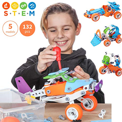 Toy Pal Educational 5-in-1 Build & Play STEM Toys for Boys, Girls Ages 7 8 9 10+ Years Old | 132 Pcs Erector Sets with Box -