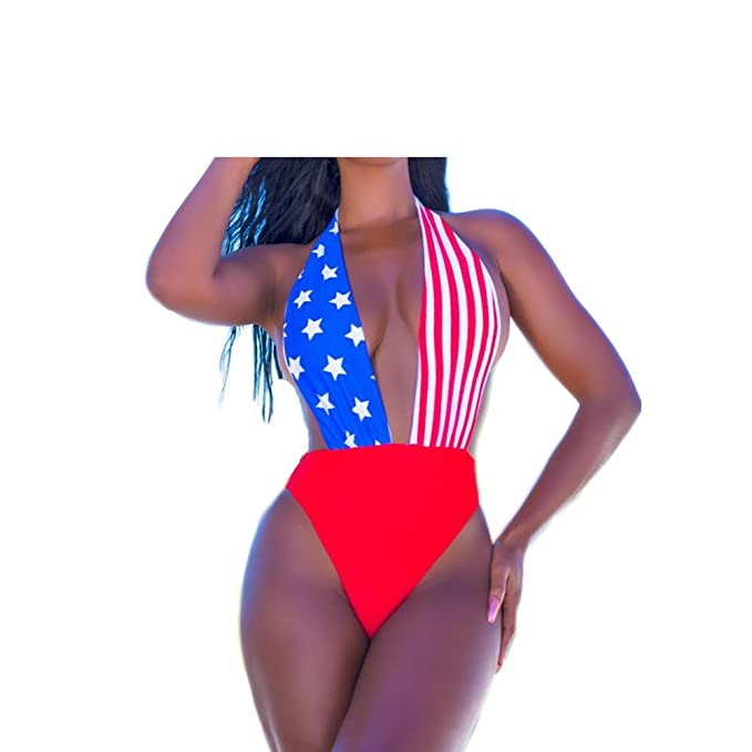 fe25f66586f4 Amazon.com  Deep Plunging V-Neck American Flag Print Bikini One Piece  Swimsuits Triangle Swimwear Summer Beach Bathing Suits  Clothing
