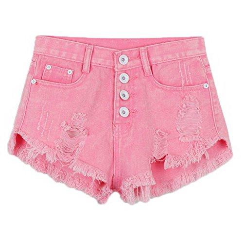 COMVIP Femme Short Hot Ample Taille Haute Short Jean  Trous Basique Et Plage Rose