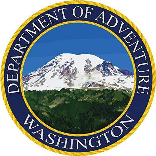 Washington Sticker, Department of Adventure State Seal WA - Mt Rainier National Park Vinyl Decal Label for Water Bottle Laptop Luggage Bike Laptop Tacklebox 5 Gal Bucket Bumper Helmet Waterproof