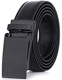 "Leather Ratchet Belt For Men - Adjustable Click Belt - Black - style 9 - Adjustable from 28"" to 44"" Waist"