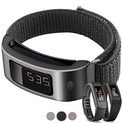 C2D JOY Metal Case with Bands for Garmin vivofit 1/2 Replacement Bands Activity Tracker Woven Nylon Watch Band with Velcro for Quick and Easy Adjustment - Black Case with Black Sport Loop, Small