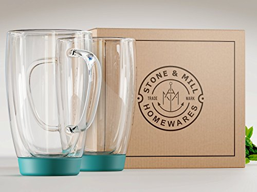 Stone & Mill Set of 2 Large Double Walled Insulated Non Slip Glass Coffee Mugs, Silicone Bottom, Thermo Glassware, Gift-boxed - AM-13-SB (Turquoise) 15 ounce by Stone & Mill Homewares (Image #6)