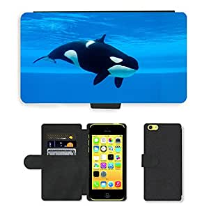 PU Cuir Flip Etui Portefeuille Coque Case Cover véritable Leather Housse Couvrir Couverture Fermeture Magnetique Silicone Support Carte Slots Protection Shell // V00002204 Ballena asesina // Apple iPhone 5C