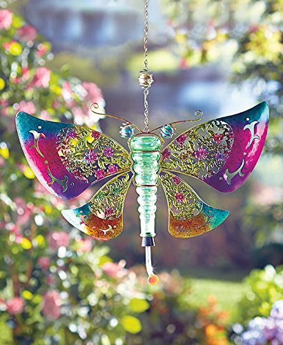 Butterfly Shaped Metal and Glass Hummingbird Feeder