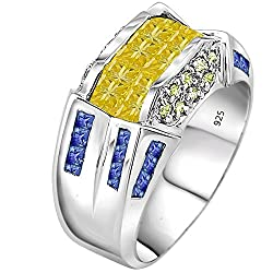 Platinum Plated Tri Color Stones Ring