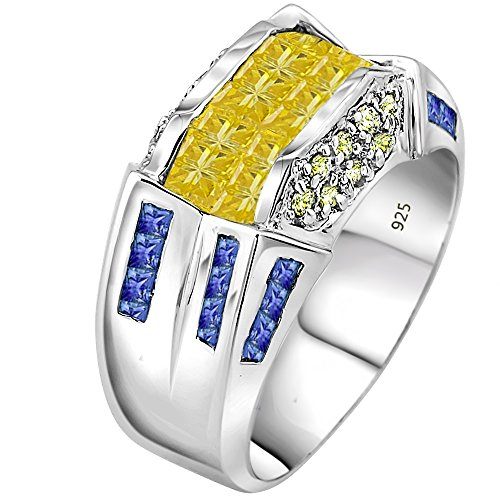 - Men's Sterling Silver .925 Fancy Designed Ring with Yellow, Blue and White Cubic Zirconia (CZ) Channel and Invisible Set Stones,Platinum Plated